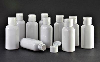 Fles 50ml en Klepdop 50 stuks - Navulbaar