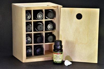 Etherische Olie Set 12 druppelflessen in houten opbergkist